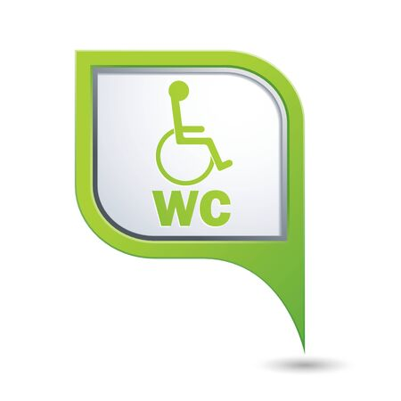 handicap: Green map pointer with handicap icon. Vector illustration