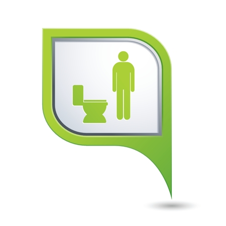 raster sex: Green map pointer with restroom icon, man. WC icon