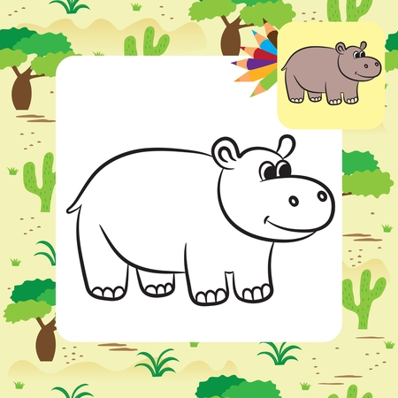 Cartoon hippo. Coloring page. Vector illustration Çizim