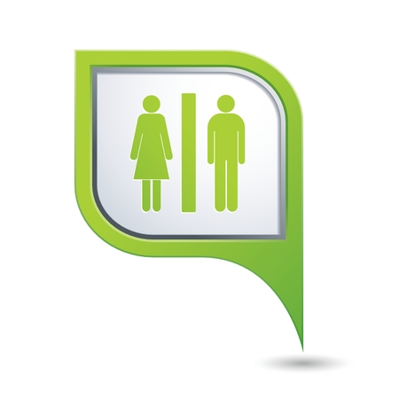 wc sign: Green map pointer with man and woman icon. Toilet, washroom, restroom, lavatory or WC sign. Vector illustration