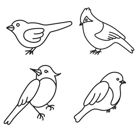 oiseau dessin: Définir des oiseaux mignons dans le vecteur.
