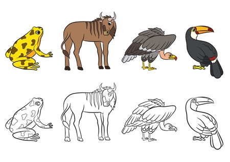 dyeing: Cute animals collection. Vector illustration.