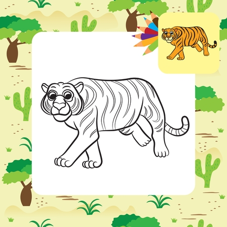 tiger page: Illustration of tiger. Coloring book.