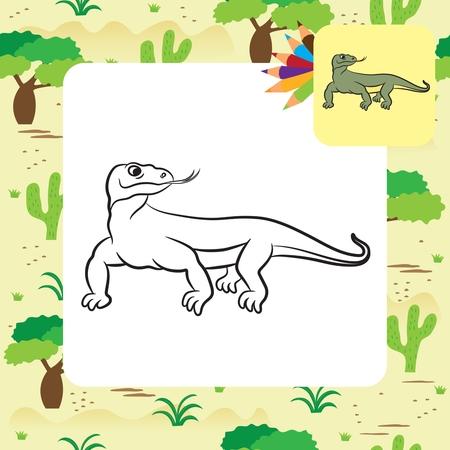Illustration of varan komodo dragon. Coloring book.