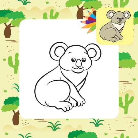 Koala bear vector illustration. Coloring book. Vector illustration.