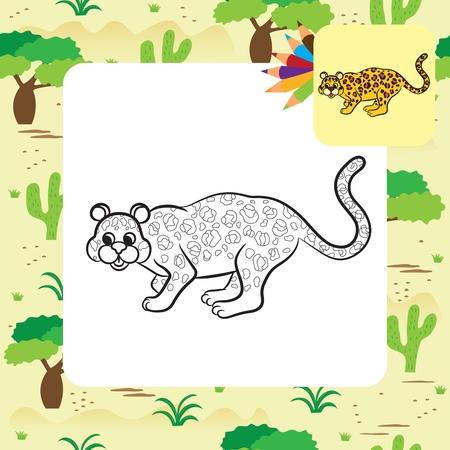 Leopard vector illustration. Coloring book. Vector illustration.