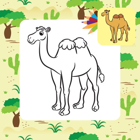 Illustration of cute camel. Coloring page.Vector Illustration