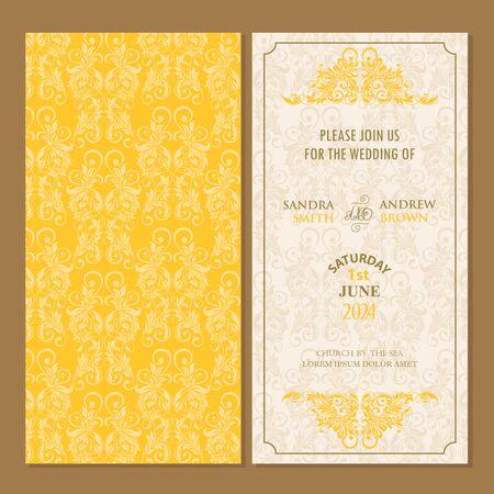 wedding invitation vintage: Wedding vintage invitation card or announcement