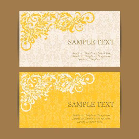 yellow card: vintage invitation card