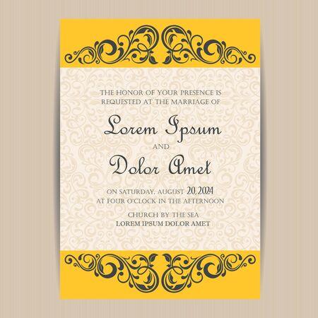 congratulation: Wedding vintage invitation card or announcement