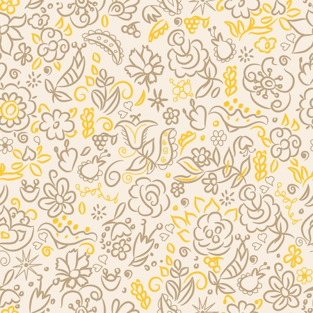 Abstract seamless pattern with beautiful hand drawn floral background. Vector illustration