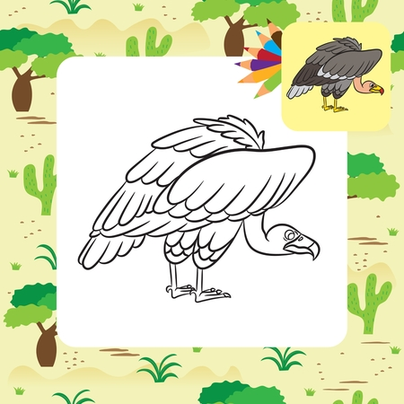 carrion: Cartoon vulture. Coloring page. Vector illustration Illustration