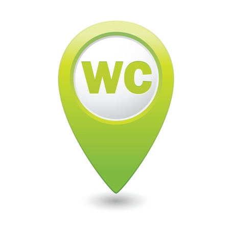 paralyze: Green map pointer with restroom icon Illustration