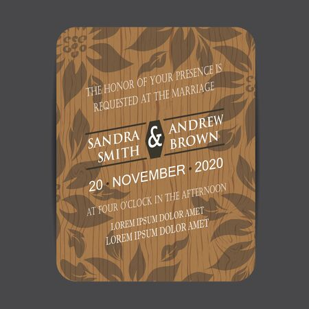 wedding invitation vintage: Wooden wedding invitation card with floral elements
