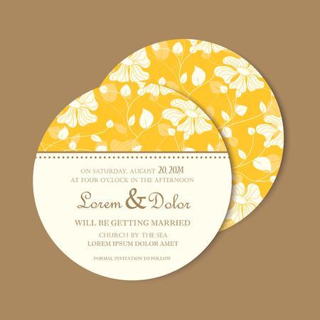 wedding invitation vintage: Beautiful yellow round, double-sided vintage wedding invitation card