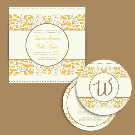 announcements: Set of wedding invitation cards or announcements