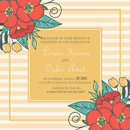 wedding reception: Wedding invitation card or announcement Illustration
