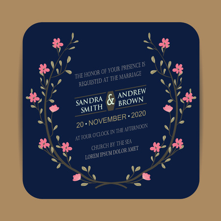wedding reception: Navy and coral Wedding invitation card or announcement with floral frame Illustration