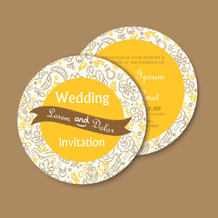 postcard back: Beautiful yellow round, double-sided vintage wedding invitation card