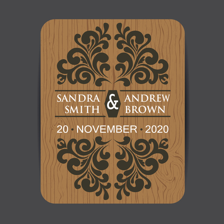 Wooden wedding invitation card with floral elements