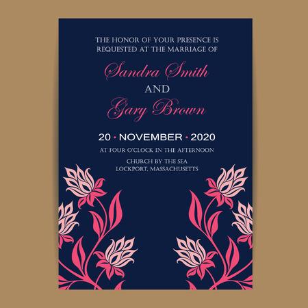 海軍とサンゴの結婚式の招待カード