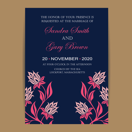 Navy And Coral Wedding Invitation Card
