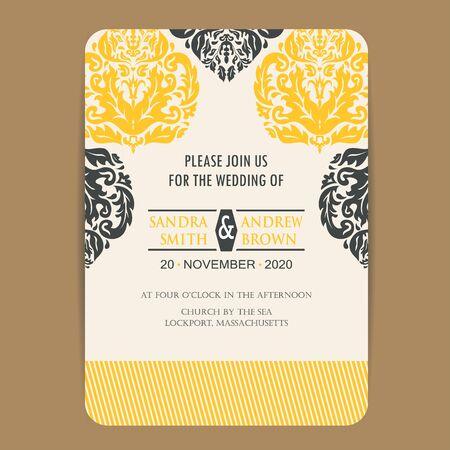 yellow card: Wedding Vintage Invitation Card