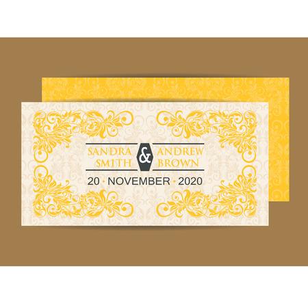 yellow card: Vintage Wedding Invitation Card