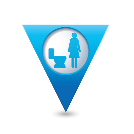 raster sex: Blue triangular map pointer with restroom icons, lady. WC icon