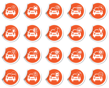 map pointers: Car service. Set of orange map pointers.