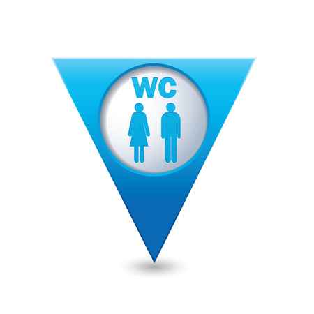 wc sign: Blue triangular map pointer with man and woman icon. Toilet, washroom, restroom, lavatory or WC sign. Illustration