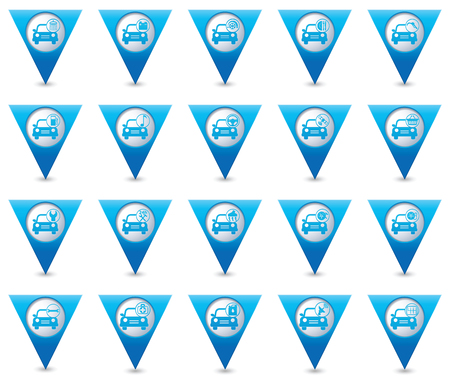 map pointers: Car service. Set of blue triangular map pointers
