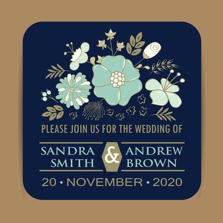 Navy Blue Wedding Invitation Card Illustration