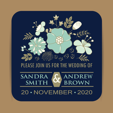 azul marino: Tarjeta de invitación de la boda Azul marino