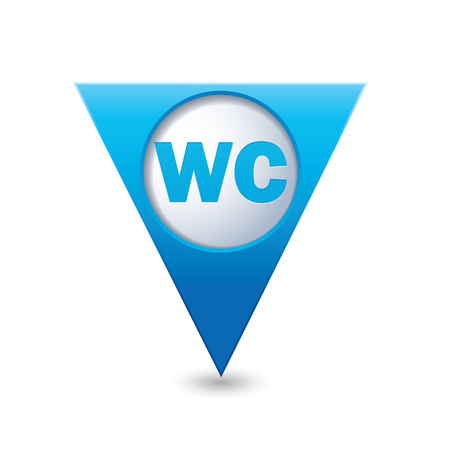 wc sign: Blue triangular map pointer with WC sign.