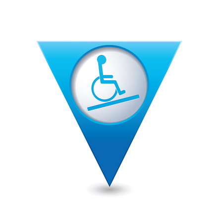 disabled access: Blue triangular map pointer with handicap icon. Illustration