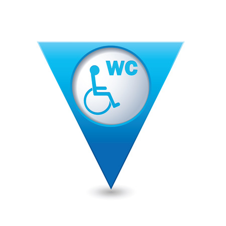 paralyze: Blue triangular map pointer with restroom icon Illustration