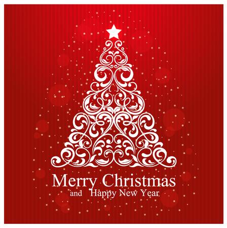 メリー クリスマスと美しい花クリスマス ツリーとニューイヤー カード。ベクトル図