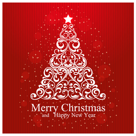 Merry Christmas and Happy New Year Card with beautiful floral Christmas tree. Vector Illustration