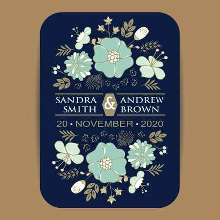 Wedding invitation card or announcement with flowers