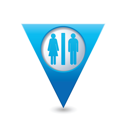 washroom: Blue triangular map pointer with man and woman icon. Toilet, washroom, restroom, lavatory or WC sign. Illustration