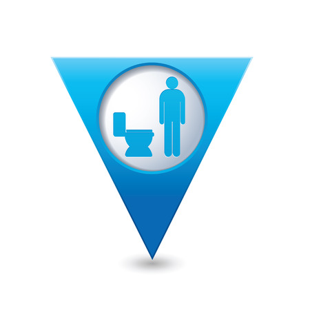 public restroom: Blue triangular map pointer with restroom icon, man. WC icon
