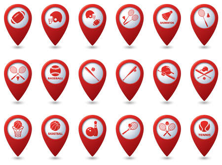 hardball: Tennis, Baseball, American football icons on red map pointers