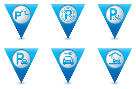 pointers: Parking sign on blue triangular map pointers.