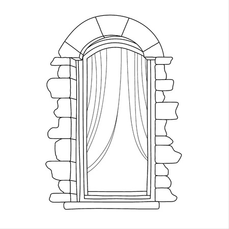 balcony: Vintage window on white background