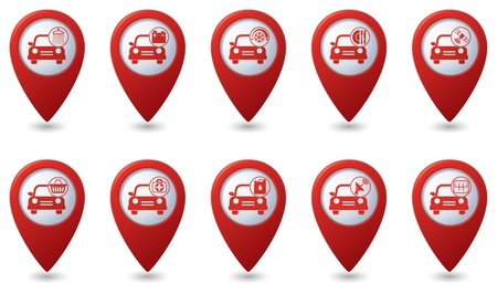 point: Car service. Set of red map pointers. Illustration