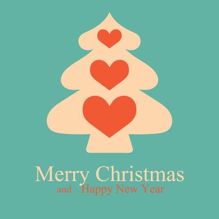 arboles caricatura: Tarjetas de Navidad y Año Nuevo con tarjeta de árbol de Navidad. Ilustración del vector.