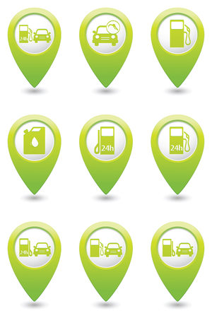 excursions: Gas station icons on green map pointers. Vector illustration