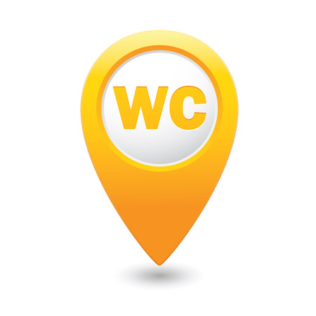 wc sign: Yellow map pointer with WC sign. Vector illustration