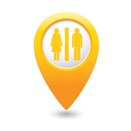 wc sign: Map pointer with man and woman icon. Toilet, washroom, restroom, lavatory or WC sign. Vector illustration